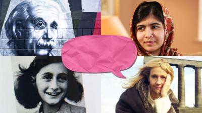 Einstein, Malala Yousafzai, Anne Frank and JK Rowling