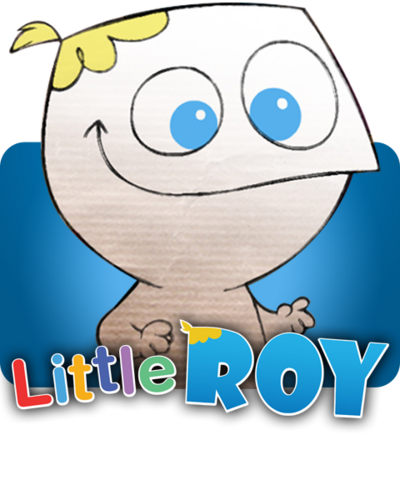 Little Roy smiling above his logo.