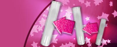 Test tubes growing in size against a pink background.