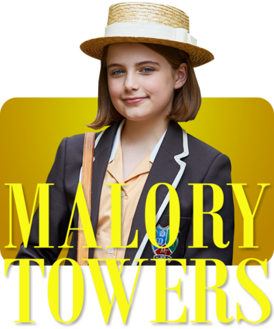 Darrell, a young girl from Malory Towers and the Malory Towers logo.