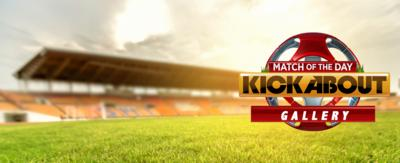 Match of the day kickabout logo in a football stadium.