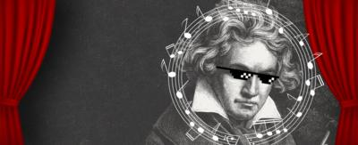 A line drawing of composer Beethoven, wearing pixelated sunglasses, surrounded by musical notes and red stage curtains.