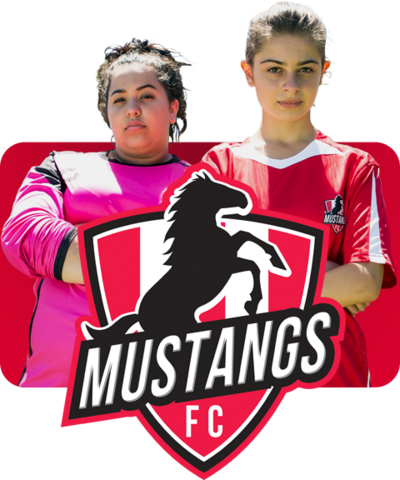 Two footballers from Mustangs FC and the Mustangs FC logo.