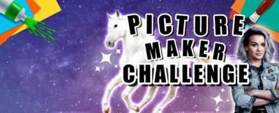 """A white horse and a girl in a denim jacket with her arms crossed (Issie from Mystic) against a purple starry background, text reads: """"Picture Maker Challenge""""."""