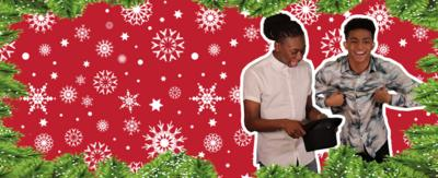 Two boys. One is dancing. One is picking questions out of a hat. Green tree border and red snowflake background. Henry and Kingston from The Next Step.