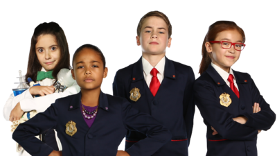Characters from Odd Squad posing with arms folded.