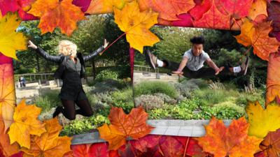 Photos of Katie and Karim jumping into the air, on a background of autumnal leaves.