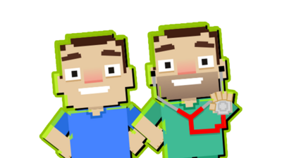 8-bit game graphics of Dr Chris and Dr Xand.