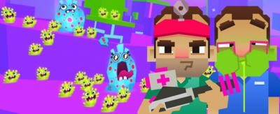 32-bit game graphics of Dr Xand and Dr Chris. Dr Xand is wearing green scrubs, a pink head band and is carrying a silver and pink snot blaster. Dr Chris is wearing blue scrubs and has green snot coming out of his face.