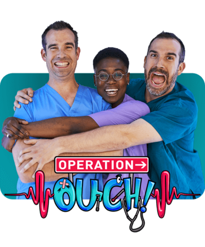 Three doctors in different colour scrubs hugging each other, Dr Chris, Dr Xand and Dr Ronx from Operation Ouch.