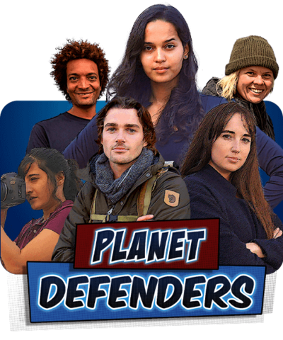 A group of 6 people stood together in outdoor gear and holding cameras, the Planet Defenders.