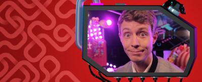 Matt Edmondson in screen on red background.