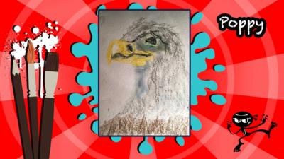An eagle created using pastels, sent in by poppy.