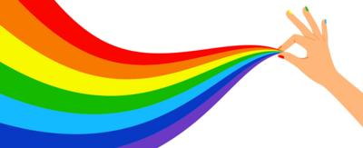 Image includes text that reads 'pride history', with an illustrated hand holding a rainbow of colours.