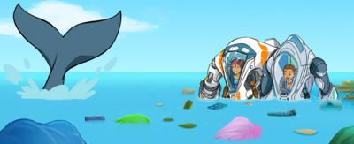Ant and Fontaine in underwater machines popping out of the surface of the ocean. Whale tale also breaking the surface of the ocean at a distance. Characters from animated series 'The Deep.