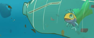 A fish trapped in a plastic bottle. Jeffrey from animated series, The Deep.