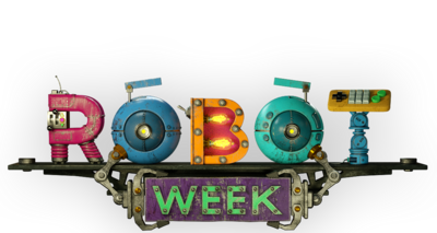 A Robot Week logo made up of cogs, nuts and bolts