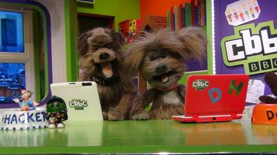 Hacker and Dodge on tablet and laptop, CBBC Office.
