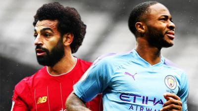 Mohamed Salah in red Liverpool kit looking to the left. Raheem Sterling in blue Manchester City kit looking to the right.