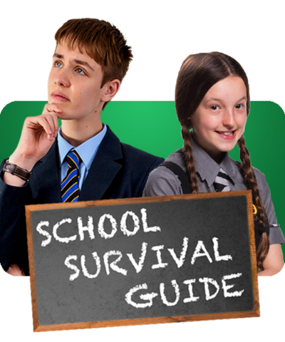 Two characters from CBBC shows in their school uniforms with a blackboard saying 'School Survival Guide'.