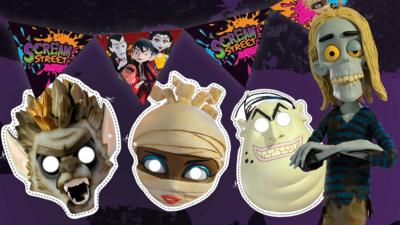 Scream street masks and bunting with a zombie character.