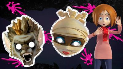 Halloween masks of a werewolf and mummy with the character of Sue looking shocked.