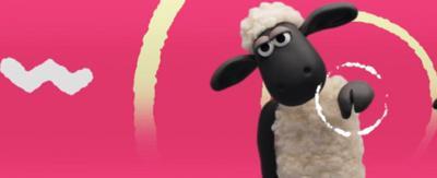 Shaun the Sheep pointing.