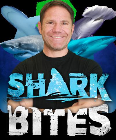 Shark Bites logo with Steve Backshall.