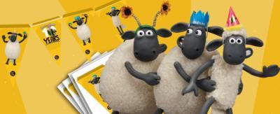 Shaun teh Sheep and the flock celebrating.