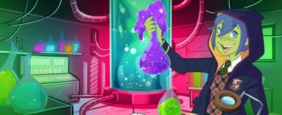 A green school child holding a potion in a lab (cartoon).