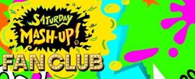 Saturday Mash-Up logo on gunge splat
