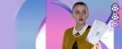 A school girl in a yellow cardigan and pearls (Martha) looks to the right, flabbergasted and obviously speechless, with three purple envelope emojis to one side, one of which is open, with a hand waving a pair of tickets to the Space Programme beneath, two out of three envelope icons appear in the top right corner.