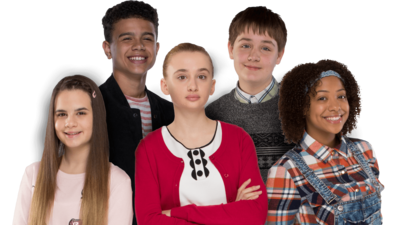 Three girls and two boys standing in a group smiling, Lily, Martha, Jas, Ollie and Rob from So Awkward.