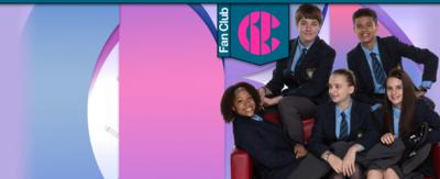 Three girls and two boys sat on a red sofa, (Martha, Jas, Lily, Rob and Ollie from So Awkward).