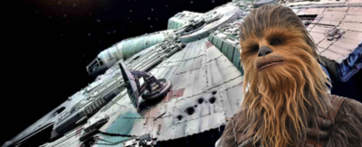 Chewbacca with a spaceship in the background.