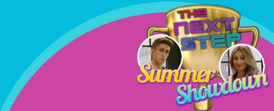 Text reads 'summer showdown' with The Next Step logo next to pictures of characters Noah and Richelle from The Next Step.