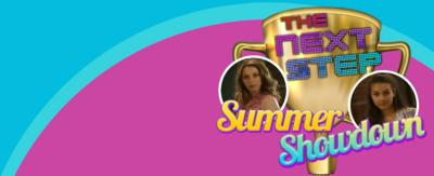 Text reads 'summer showdown' with The Next Step logo next to pictures of characters Amy and Summer from The Next Step.