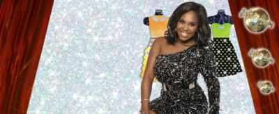 Three glittery dress illustrations with a woman stood in front of them, Motsi Mabuse.