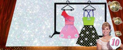 Cartoon dresses on a glittery background with the Strictly Come Dancing logo and Darcey Bussell holding a paddle with the number ten on.