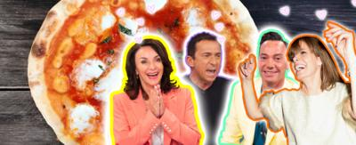 A brown haired woman looking delighted (Shirley Ballas), a brown haired man looking disgusted (Bruno Tonioli), a brown haired man smiling politely (Craig Revel-Horwood) and a brown haired woman dancing (Darcy Bussell). A large pizza is in the background.