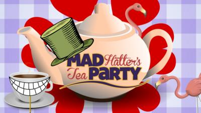 A Tea Pot, flamingos and the 'Mad Hatter's Tea Party' logo.
