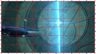 A picture of a submarine with a grid overlaid.