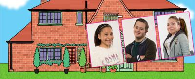 Three characters from The Dumping Ground in front of Ashdene Ridge.