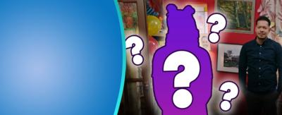 The dumping ground characters with a purple cutout hiding one of the characters with question marks surrounding them