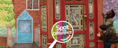 A boy and a girl pushing a wardrobe and a 'Spot the Difference' logo.