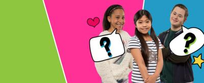 Three children standing together on a colourful background, Candi-Rose, Taz and Finn from The Dumping Ground.