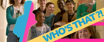The kids from the Dumping Ground with a 'Who's That' banner.