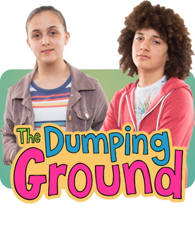 Jodi and Tyler from The Dumping Ground on a green background in front of the logo.