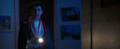 A boy dressed as a vampire holding a torch.