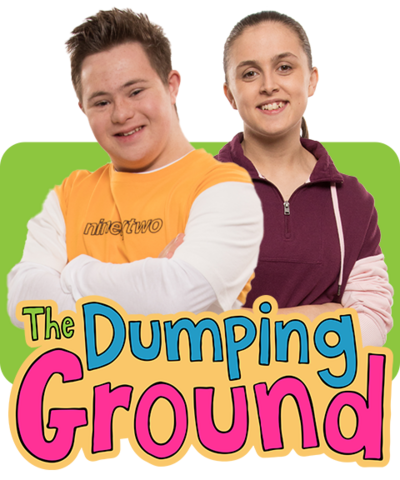 A boy and girl standing together smiling, Finn and Jody from Series 8 of The Dumping Ground.